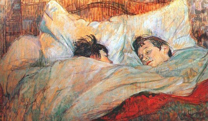 postagem blog - almofadas (Henri de Toulouse-Lautrec, Au lit, 1892.)